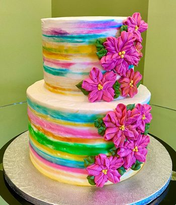 Tropical Flower Tiered Cake