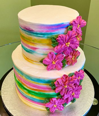 Tropical Flower Tiered Cake - Top