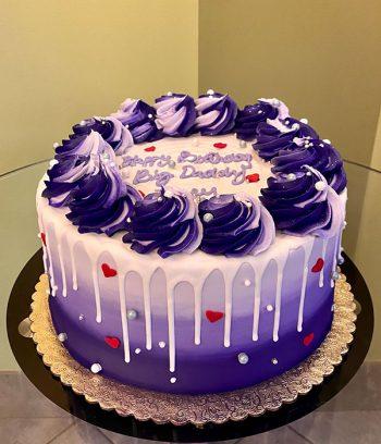 Heart Drip Layer Cake - Purple