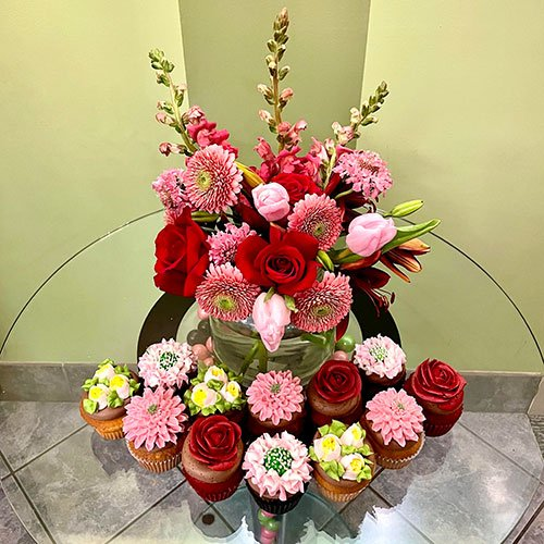 Valentine's Day Flowers & Cupcakes.