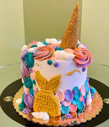 Unicorn Mermaid Layer Cake - Side