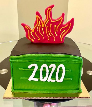 Dumpster Fire Layer Cake - Front