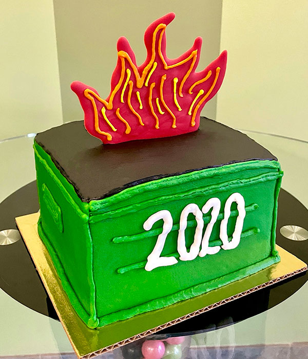 Dumpster Fire Layer Cake - Side
