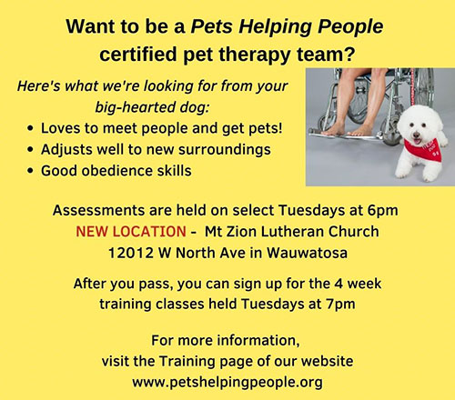 Pets Helping People recruitment flyer.