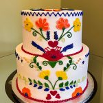 Mexican Embroidery Tiered Cake