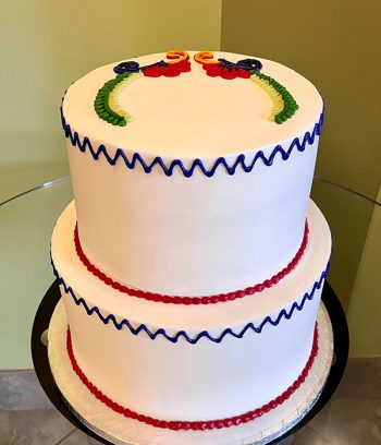 Mexican Embroidery Tiered Cake - Back