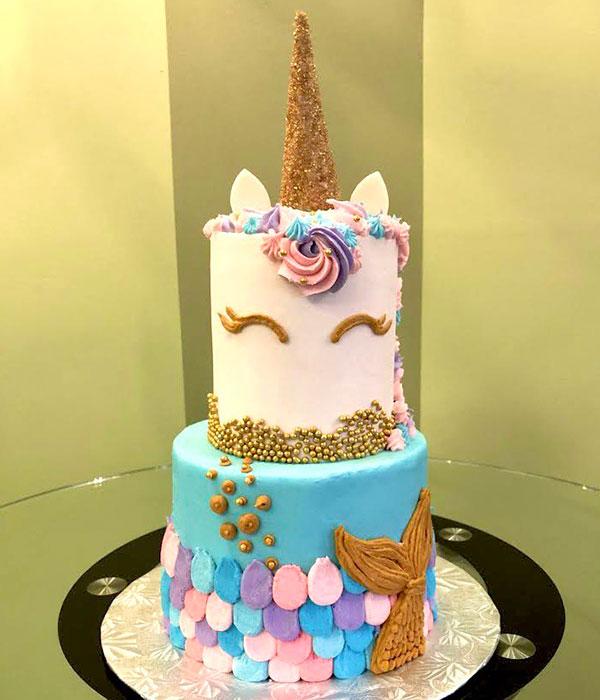 Unicorn Mermaid Tiered Cake - Front