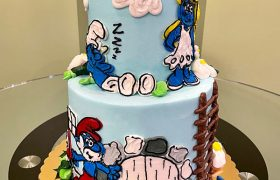 Smurfs Tiered Cake - Front