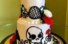 Skull Rose Tiered Cake